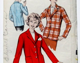 50s Jacket Pattern: Womens Blazer Jacket, Advance 9011