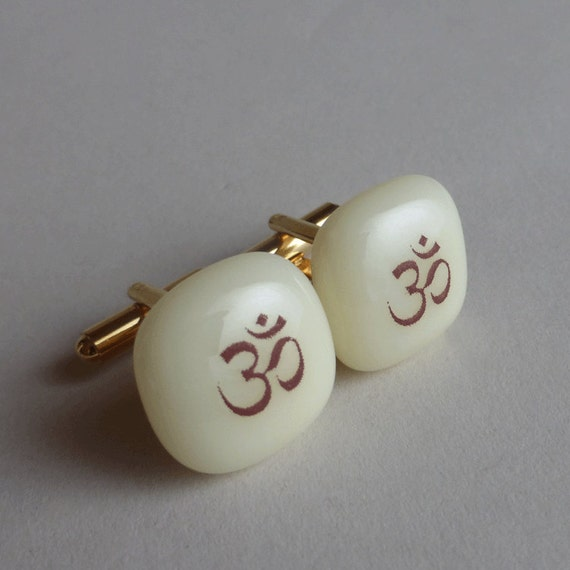 Om Cufflinks - Fused glass