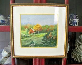 RED BARN Original Landscape Vintage signed