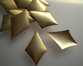 12 domed brass diamond drops/stamping blanks