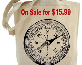 Tote bag - canvas tote bag - shopping bag - grocery bag - Nautical Vintage Mariner's Compass - Recycled Tote - screen print - Canvas bag