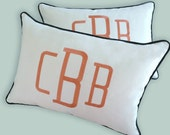 pillow sham embroidery monogram orange charcoal white cotton sunbrella throw pillow other colors