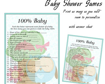 Baby Shower Printable Game Blue Owl 100 Percent Baby