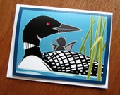 Loon & Baby Note Card
