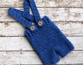 Denim Blue Baby Suspender Shorts, 3 to 6 Month Baby Boy Photo Prop