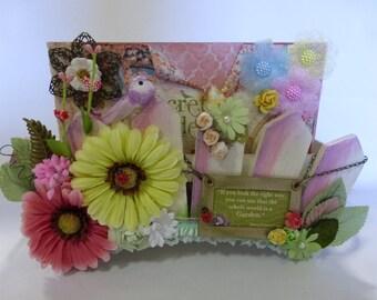 "handmade mini album Graphic 45 ""SECRET GARDEN"" w/box 9""X6"" flowers embellishment"