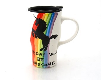 Unicorn travel mug with handle, today will be awesome, rainbow, kiln fired ceramic and pottery