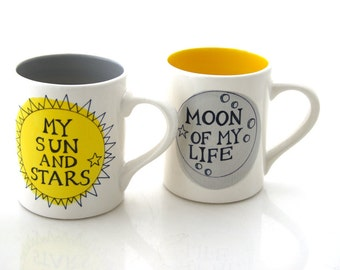 Game of Thrones mug set, Moon of my Life, My Sun and Stars, GOT gifts, couples' mugs