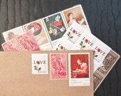 Letters Mingle Souls .. UNused Vintage Postage Stamps  .. post 8 letters