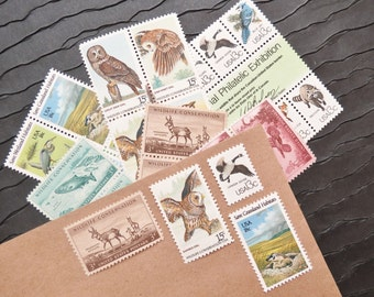 Wildlife .. UNused Vintage Postage Stamps  .. post 8 letters