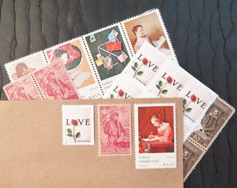 Letters Mingle Souls .. UNused Vintage Postage Stamps  .. post 8 letters