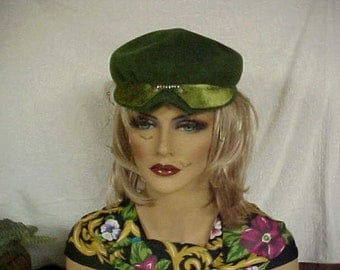 Moss green fascinator hat with chartreuse front trim-face veil and rhinestones- designer- fits 22 inches