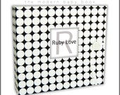 Baby Book . Baby Memory Book . BLACK and WHITE DOTTY Album . Ruby Love Modern Baby Memory Book