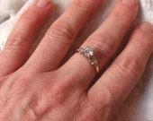 Stunning Half Carat Diamond Ring in 14k White and Yellow Gold
