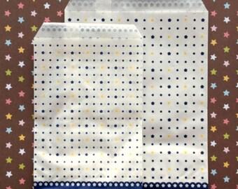 Blue Polka Dot/Flower Paper Bags