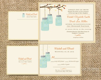Fall Wedding Invitation //  With Tree Branch and Mason Jar Wedding Suite //  Customize colors