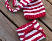 Baby Elf Hat & Diaper Cover Set, Red White Striped Hat and Diaper Cover Newborn Photo Prop, Elf Hat Baby, Crochet Stocking Hat in 3 Sizes - puddintoes
