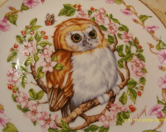 CHARMING and so Darling - Vintage Porcelain Woodland Babies Owl  Plate -Whooo Me - Decorative Plate - Cabinet Plate - Wall Hanging