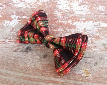 Boys Bow Tie - Christmas Plaid in Black Bow Tie - Bow Tie - Bow Ties Toddler - Newborn Bow Tie - Christmas Bow Tie - Christmas Tie