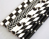 Assorted Black Paper Straws and PDF Printable Party Flags