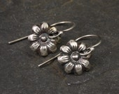 RESERVED FOR CATHI Silver Flower Earrings Tiny Silver Flowers Botanical Jewelry