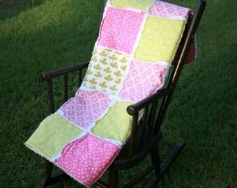 Fuschia pink, white, lime green polka dot chenille frayed rag baby quilt blanket
