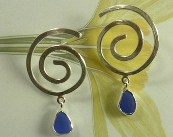 Sea Glass Spiral Earrings