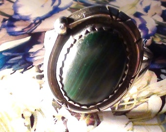 Ring Native American Indian Sterling Silver Hand Polished  Malachite  Ring Size 8