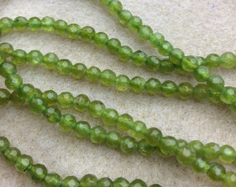 15 inch Strand of Faceted Green Quartz Round Beads  BAG 107