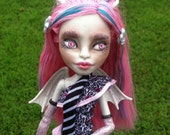 One of a Kind Repainted High Fashion Monster Doll, Sweet Gargoyle Girl, Custom Monster OOAK Repaint Art Doll Collectible