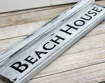 Hand Painted Distressed Sign Beach House Handmade
