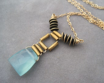 Pendant Necklace - Aqua Chalcedony Trapezoid - Caribbean Blue Ocean - Ethnic Inspired Wire Wrapped Necklace - African Metal Beads - Woven