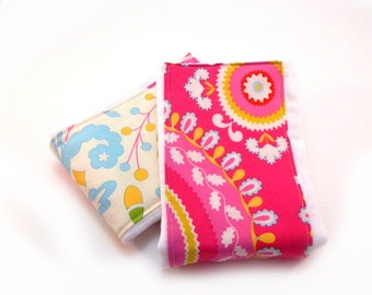 Girl Burp Cloths, Flowers Pink Cream Blue set of 2 Diaper Clothes