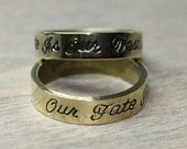 "Ring ""Our fate.. "" minimalist modern style -  Stamped Brass ox Solid Band SZ 7"