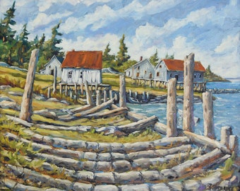 Old Boat Ramp Maine Original Painting by Prankearts