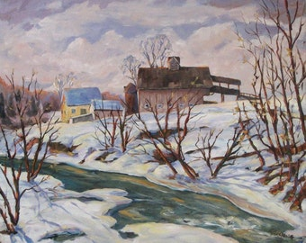 Farm in Winter - Original Landscape Oil Painting Created by Prankearts