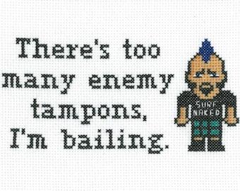 PATTERN - Ten Inch Hero - Enemy Tampons Cross Stitch Pattern
