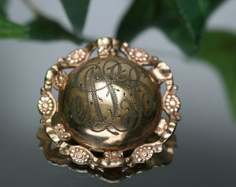 Vintage Gold Tone Domed Engraved Brooch - ALB