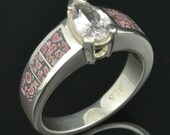 Dinosaur Bone Wedding Ring with White Sapphire in Sterling Silver