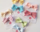 Herringbone Bows- YOU choose color and clip style- Set of 2