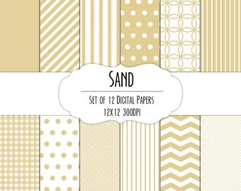 Sand Brown Digital Scrapbook Paper 12x12 Pack - Set of 12 - Polka Dot, Chevron, Stripe, Gingham - Instant Download - Item#8005