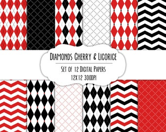 Cherry Red & Licorice Black Diamond Digital Scrapbook Paper 12x12 Pack - Set of 12 - Argyle, Chevron - Instant Download -#8136