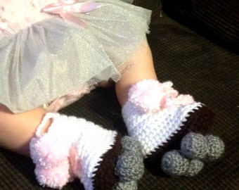these are crochet baby Roller Skate booties
