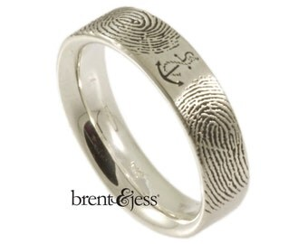 You Are My Anchor Fingerprint Wedding Band in Sterling Silver
