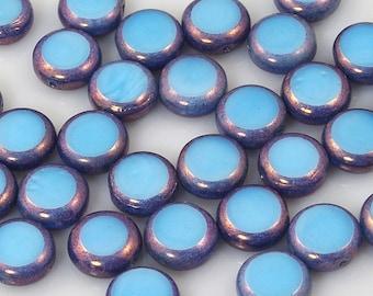 Satiny Light Blue with Dark Blue Bronze Window Coin Czech Glass Beads 11mm - 15