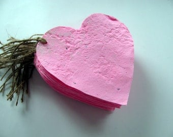 Plantable Gift Tag  Large Pink Heart Shape - Wedding escort cards, Valentine's Day gifts, Engagement Party Favors