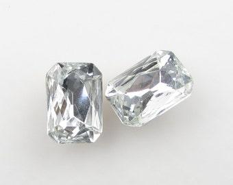Vintage Glass Rhinestone Jewel Crystal Clear Octagon 18x13mm rhs0478 (2)