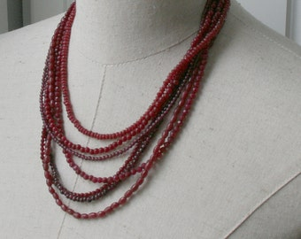 Red Garnet Ruby Small Beads Gemstone Multi Strand Necklace