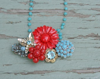 Red Turquoise Brooch Collage Necklace Vintage Blue Aqua Crimson Scarlet Butterfly Enamel Flower Pin Assemblage