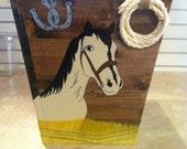 Handmade Custom Painted Western Themed Trash Can